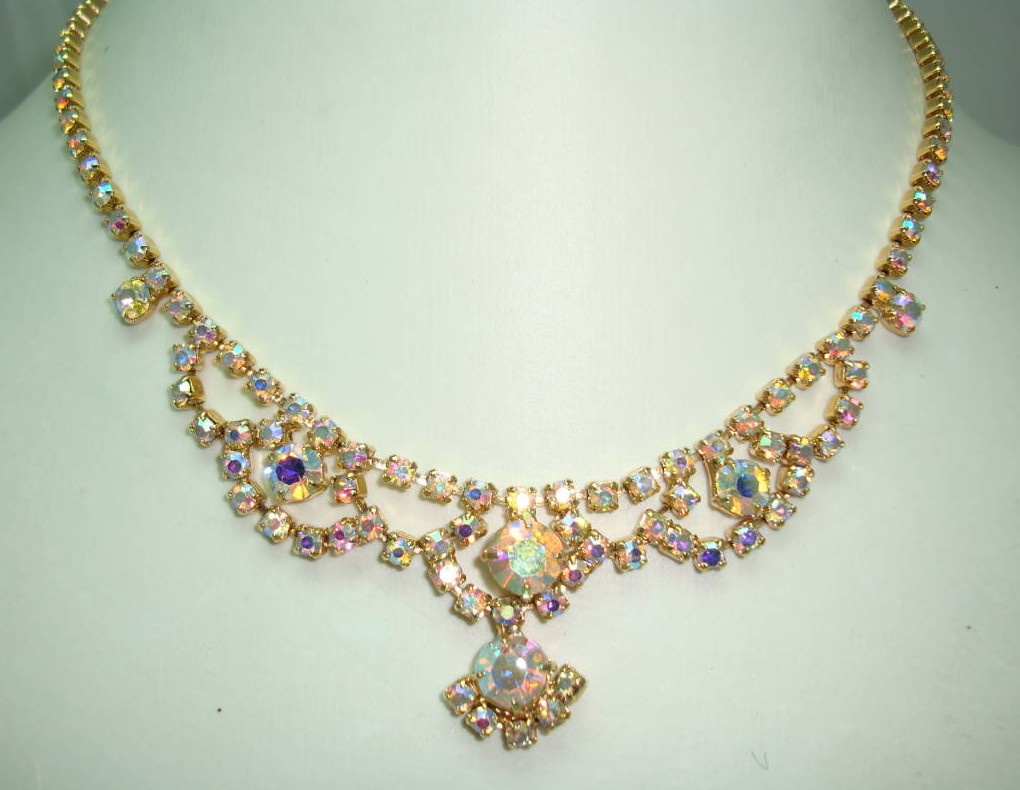 Vintage 50s Sparkling AB Rhinestone Diamante Cascade Drop Necklace