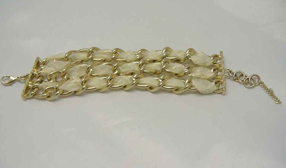 £14.40 - Vintage 80s Fab MIKEY Wide Gold Chain Cuff Bracelet