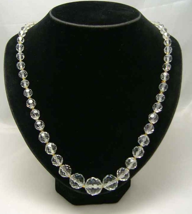 £23.00 - Vintage 50s Fab Quality Crystal Glass Bead Necklace Diamante Clasp