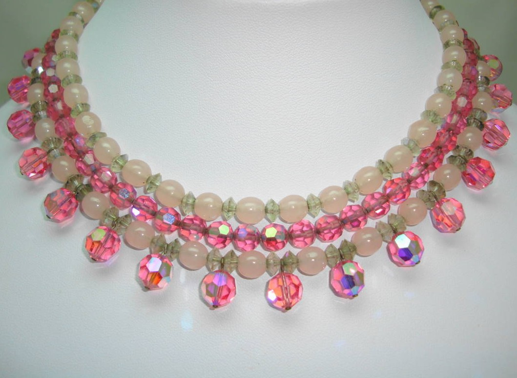 50s 3 Row AB Pink Glass Bead Drop Necklace Ster Silver Diamante Clasp!