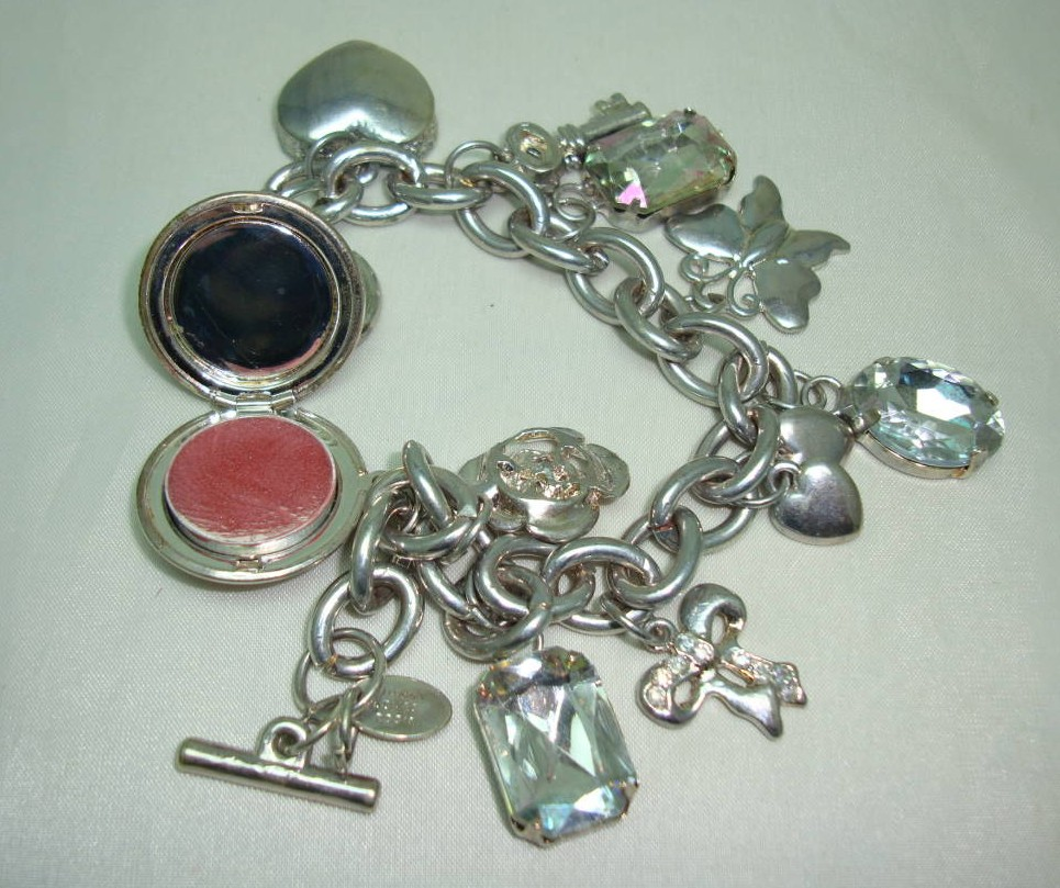 Chunky Signed Johnny Loves Rosie Silver Charm Bracelet  Lipgloss Charm