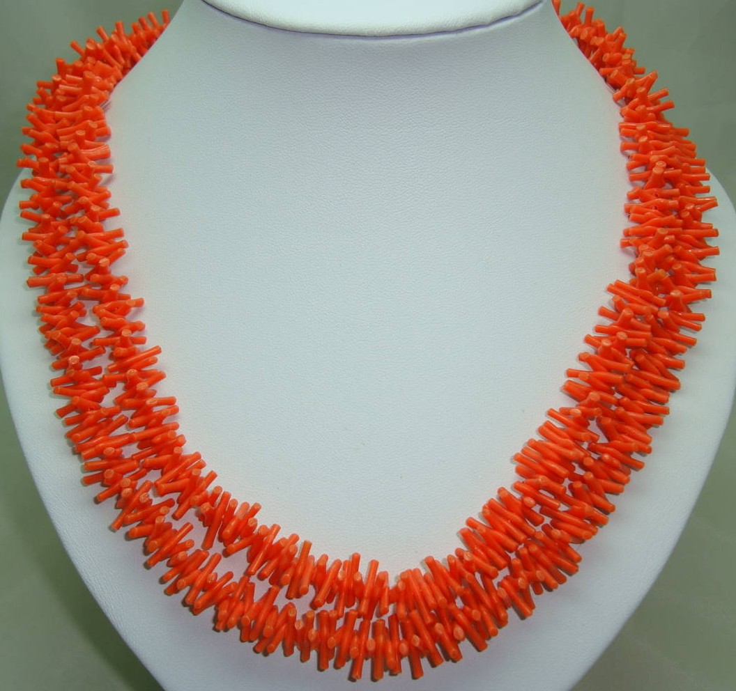 Vintage 60s Fab Long Bright Orange Lucite Plastic Coral Twig Necklace
