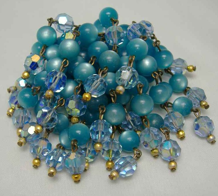 Vintage 50s Blue AB Crystal Glass Moonglow Bead Drop Tassel Brooch