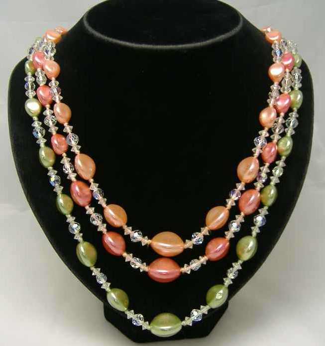 1950s 3 Row Green & Coral Pearl & Crystal Bead Necklace