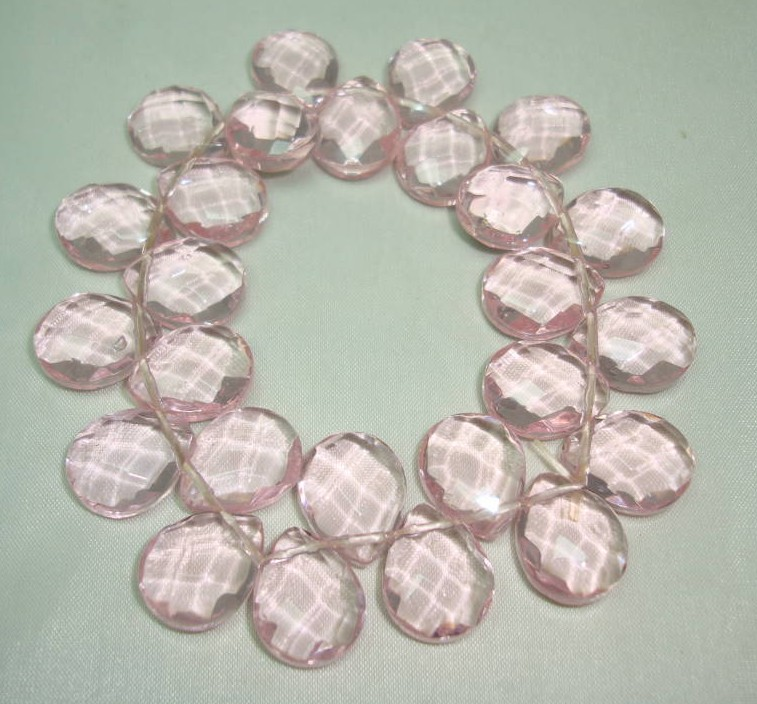 Beautiful Pink Faceted Crystal Glass Briolette Bead Stretch Bracelet