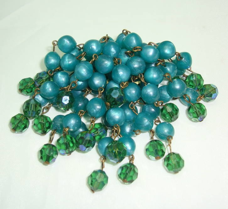 Vintage 50s Green Lucite Bead & AB Crystal Glass Drop Brooch
