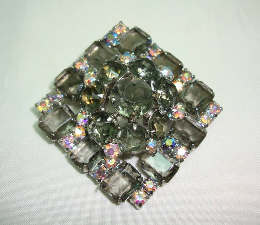 £20.00 - Vintage 50s Large AB Smoky Quartz Colour Diamante 3 Dimensional Brooch