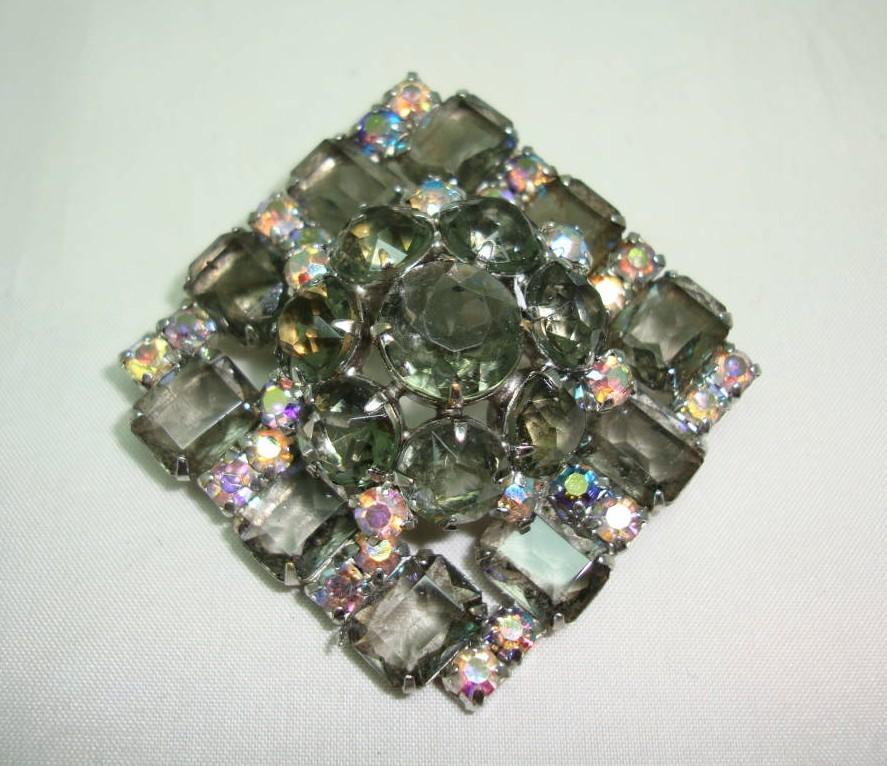 £20.00 - Vintage 50s Large AB Smoky Quartz Colour Diamante 3 Dimensional Brooch