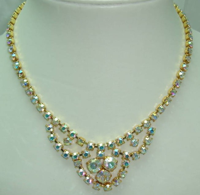 1950s Sparkling AB Diamante Gold Cascade Drop Necklace