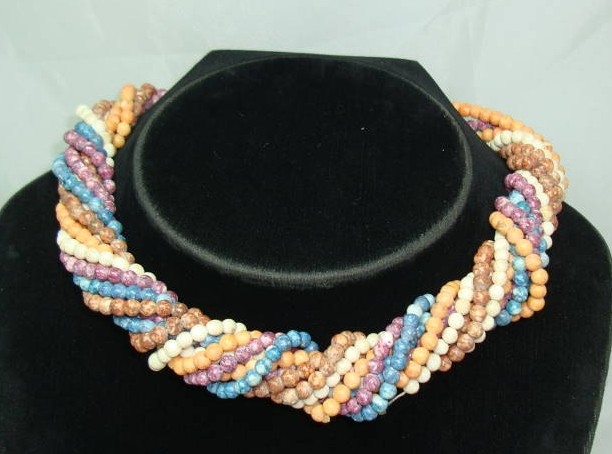 1970s 5 Row Multicoloured Glass Bead Twist Necklace WOW