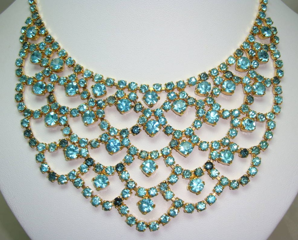 1950s Glam Aqua Blue Diamante Festoon Cascade Necklace Statement Piece