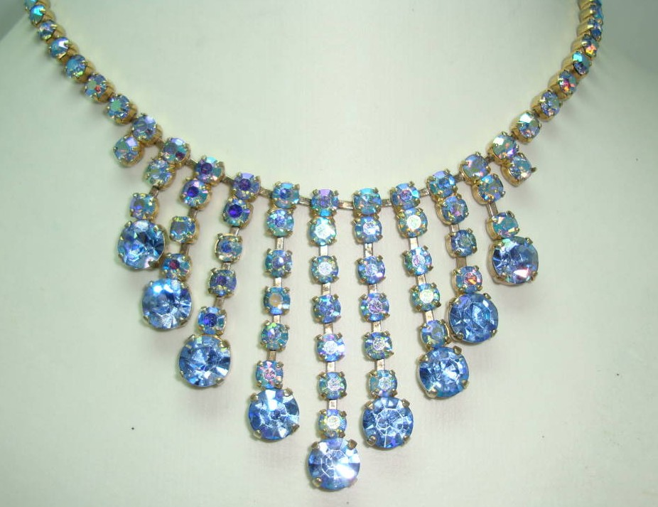 Vintage 50s FAB Blue AB Diamante Festoon Drop Necklace