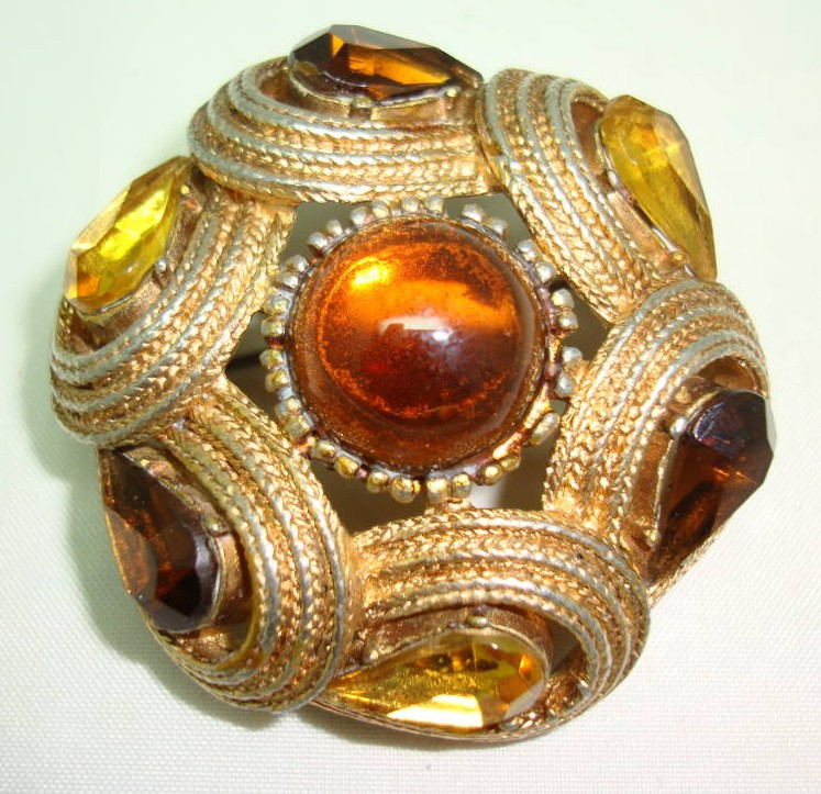 Vintage 50s Big Signed Sphinx Amber and Citrine Diamante Domed Brooch