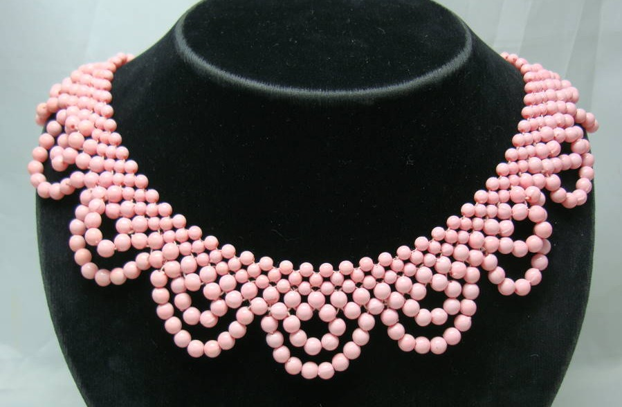 £14.40 - 1950s Pink Bead Scallop Drop Necklace Lovely Clasp WOW