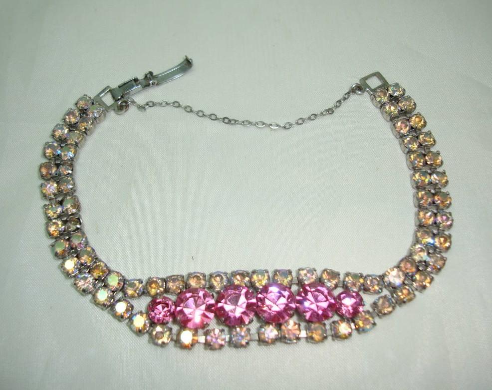 Vintage 50s 2 Row Sparkling Pink & AB Diamante Bracelet Signed!