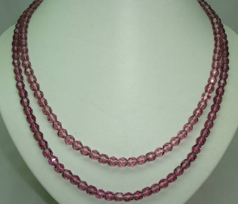 Vintage 50s 2 Row Purple Amethyst Glass Bead Necklace