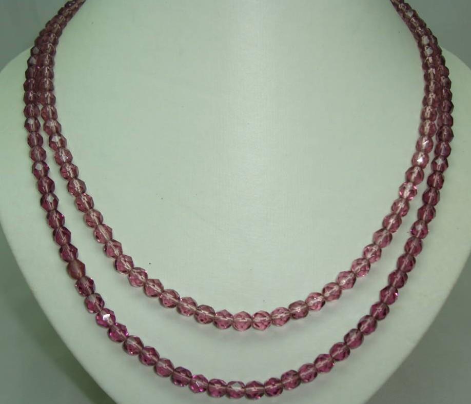 £27.60 - Vintage 50s 2 Row Purple Amethyst Glass Bead Necklace