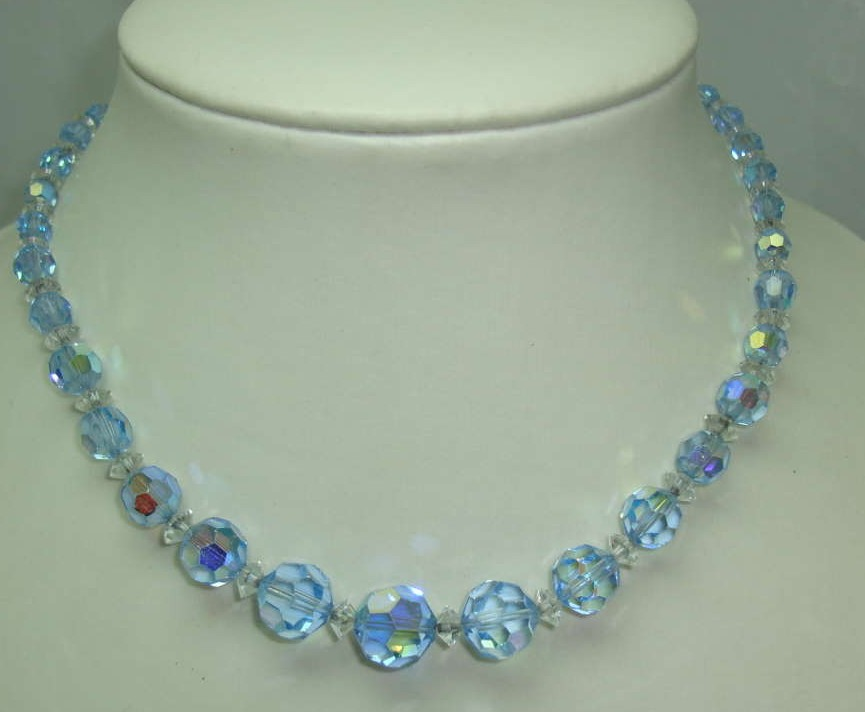 Vintage 50s Pretty Blue Sparkling AB Crystal Glass Bead Necklace