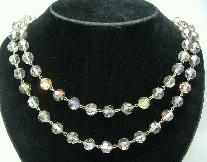 Vintage 50s Amazing 2 Row AB Coated Crystal Glass Bead Necklace
