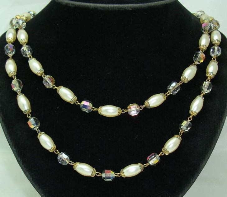 £27.60 - 1950s 2 Row Faux Pearl & Crystal AB Glass Bead Necklace