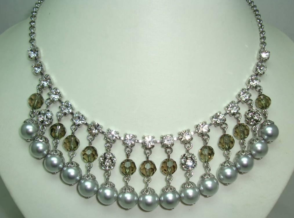 50s Style Coast Faux Pearl Crystal and Diamante Drop Cascade Necklace