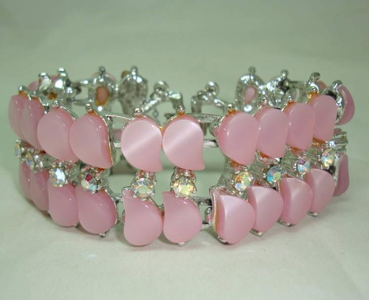 Vintage 50s Amazing Wide Pink Moonglow Lucite AB Diamante Bracelet