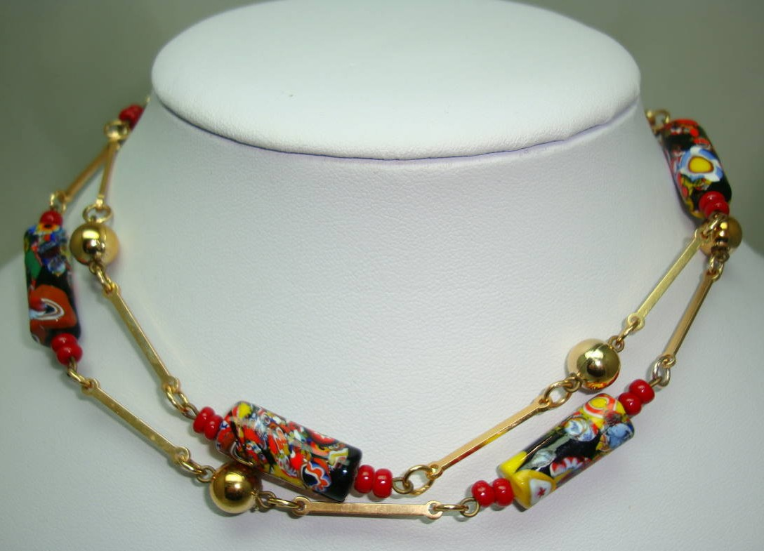 Vintage Art Deco Venetian Millefiori Art Glass Murano Bead Necklace
