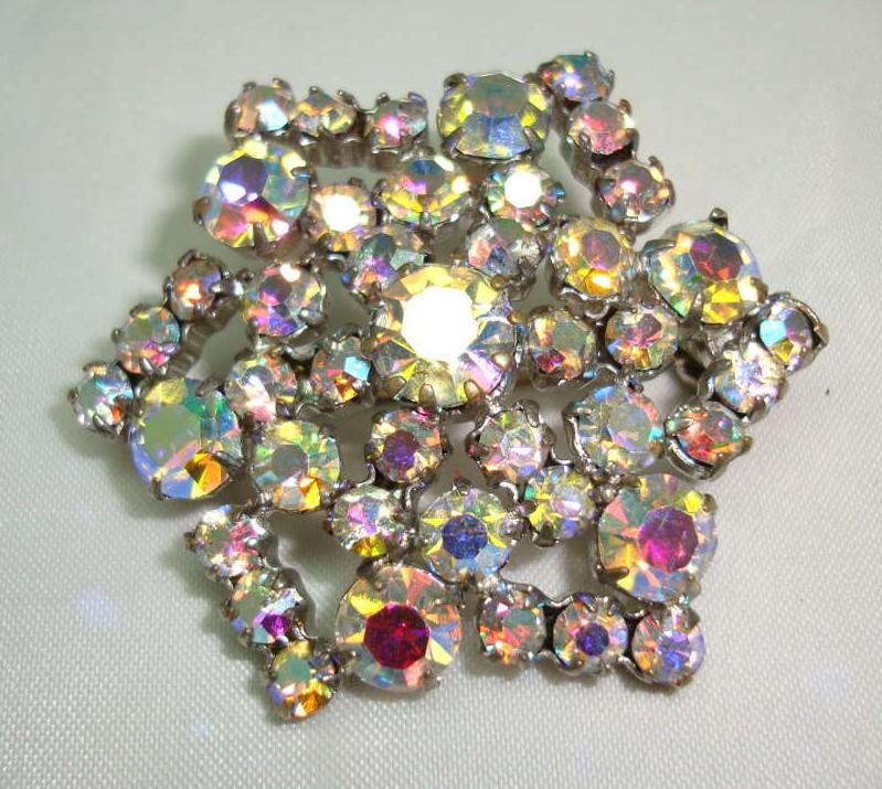 Vintage 50s Sparkling AB Diamante Starburst Brooch