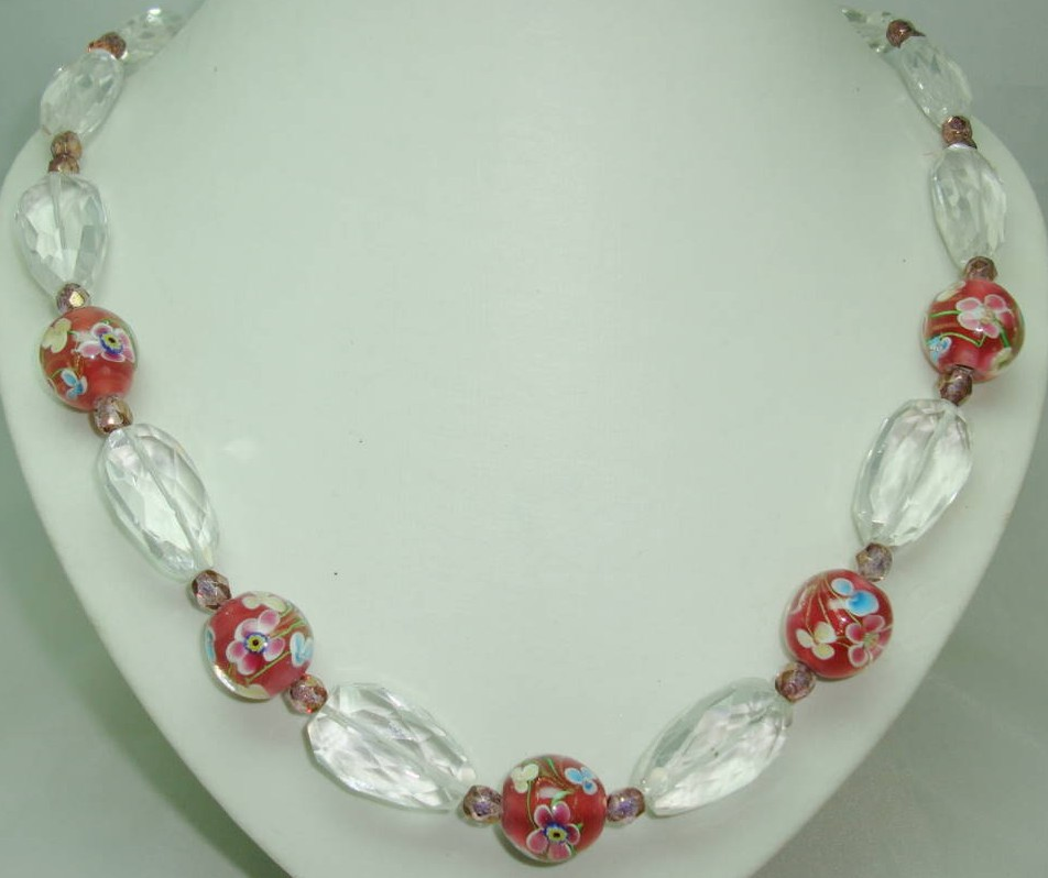 Vintage 30s Crystal & Pink Venetian Murano Glass Flowers Bead Necklace