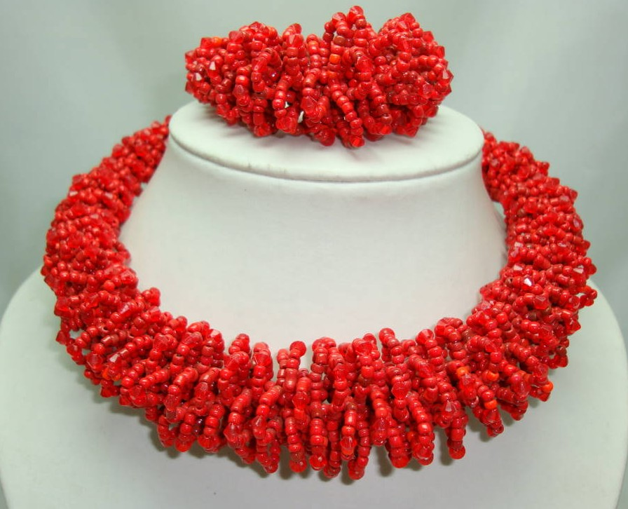 £32.00 - Stunning Chunky Reddish Orange Glass Seed Bead Necklace + Bracelet Set