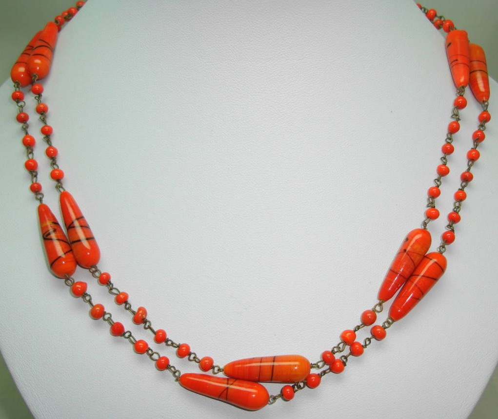 Vintage Art Deco End of Day Venetian Orange Swirl Glass Bead Necklace