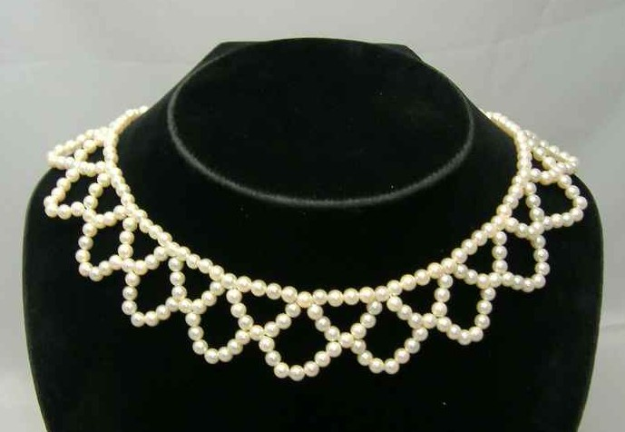 1950s Faux Pearl Bead Scallop Drop Choker Necklace