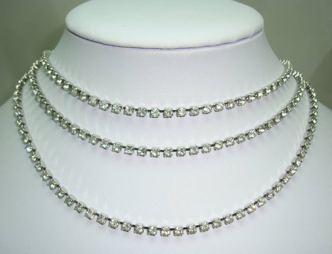 Vintage 50s Amazing 3 Row Graduating Sparkling Diamante Necklace