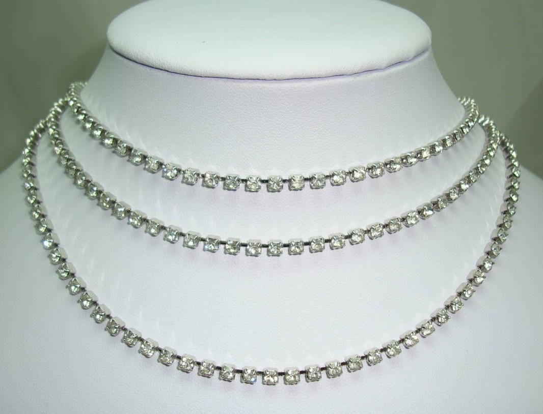 Vintage 50s Amazing 3 Row Graduating Sparkling Diamante Necklace
