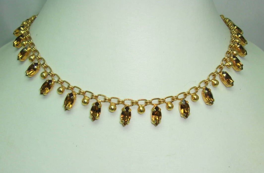 Vintage 50s Quality Amber Brown Marquis Diamante Drop Gold Necklace