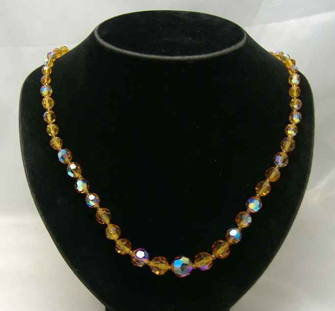 £16.80 - Vintage 50s Citrine AB Crystal Glass Bead Necklace WOW