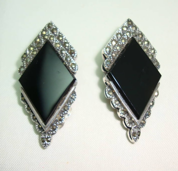 Art Deco Style Sterling Silver Black Onyx + Marcasite Clip on Earrings