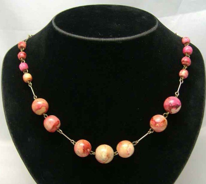 Art Deco 30s Pink End of Day Celluloid Bead Rolled Gold Necklace