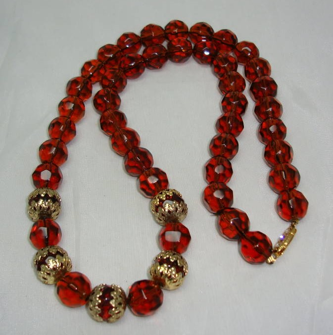 Vintage 50s Quality Long Amber Glass Bead Necklace