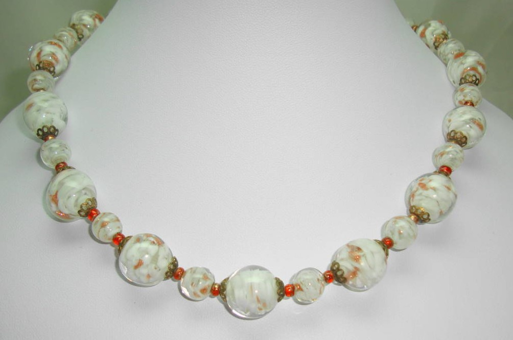 Vintage 30s Venetian Sommerso White and Gold Art Glass Bead Necklace