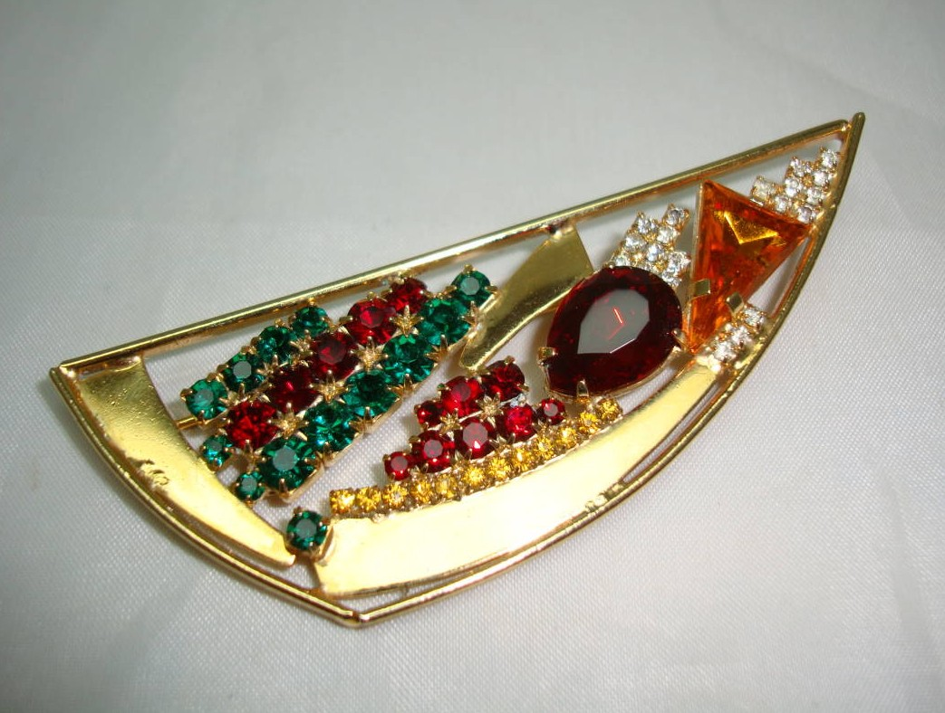 £14.40 - Vintage 80s Abstract Multicoloured Diamante Gold Brooch
