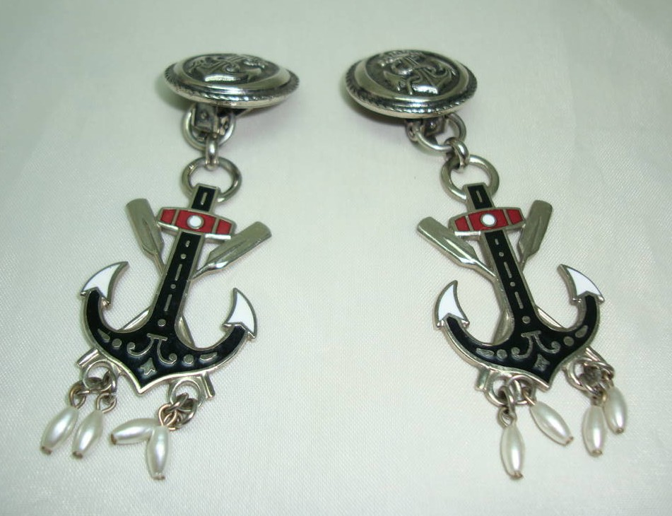 1980s Nautical Anchor Enamel Silver Clip On Earrings