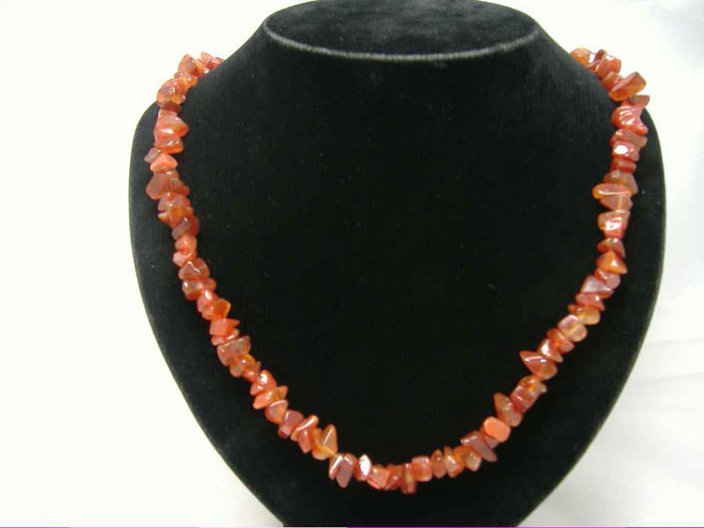 £12.00 - Stylish 20 inch Dark Red/Orange REAL QUARTZ Necklace