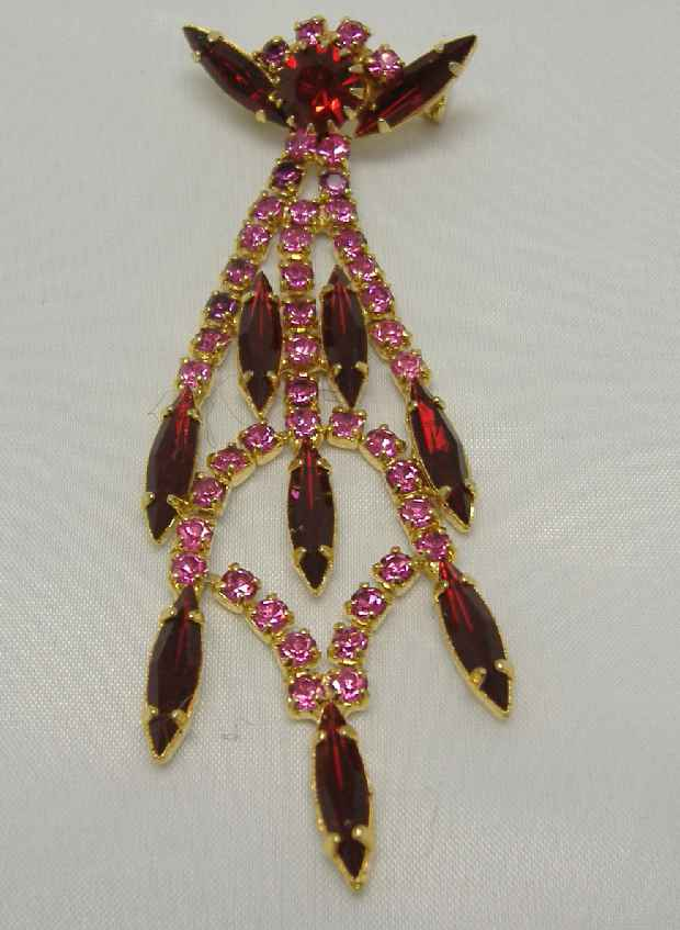 £14.40 - Vintage 50s Deco Style Sparkling Red and Pink Diamante Drop Brooch