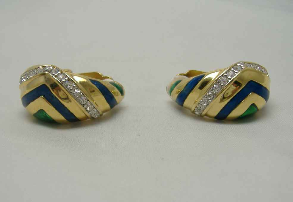 Vintage 80s Quality Blue Green Enamel Diamante Gold Clip on Earrings