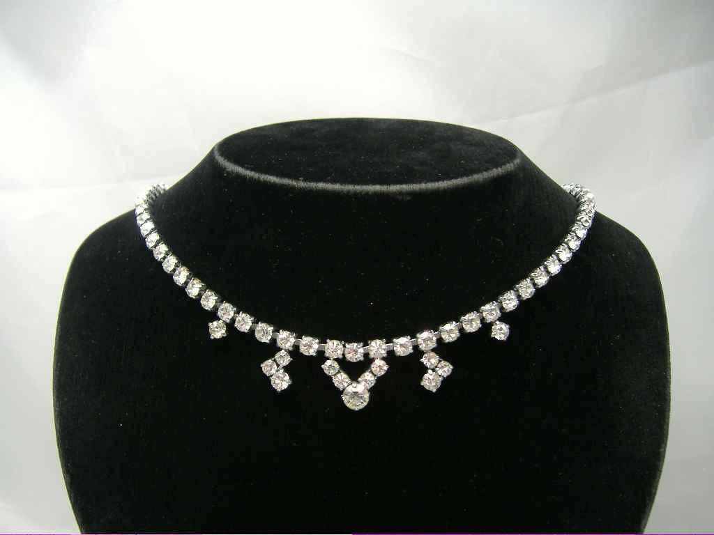 Vintage 50s Quality Sparkling Diamante Drop Necklace