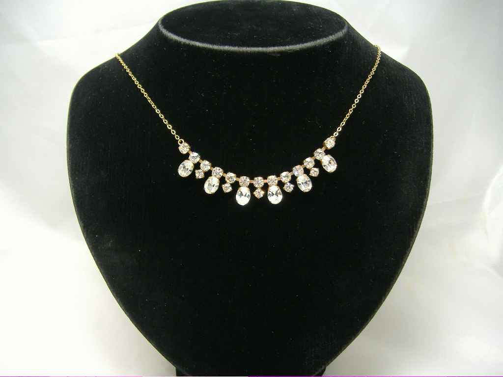 Vintage 30s Paste Diamante Drop Necklace on Gold Chain