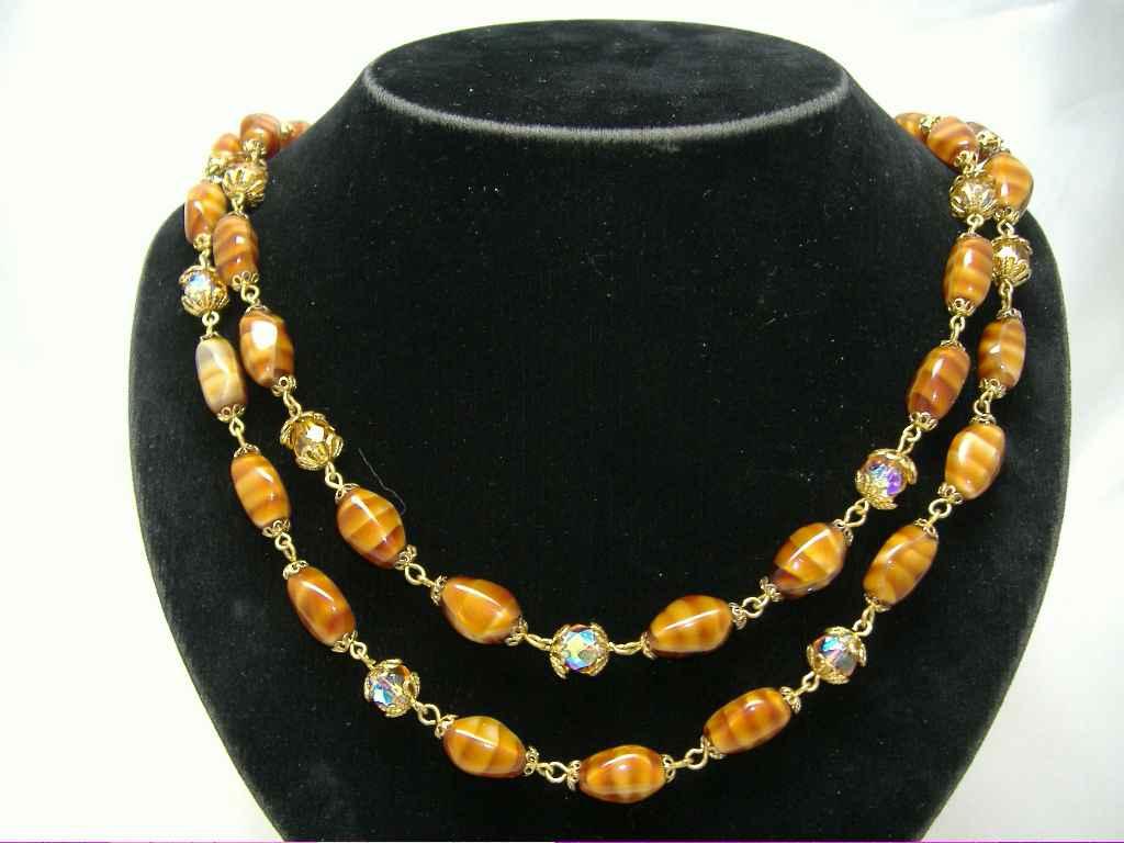 £21.60 - 1950s 2 Row Caramel Glass & AB Crystal Bead Necklace